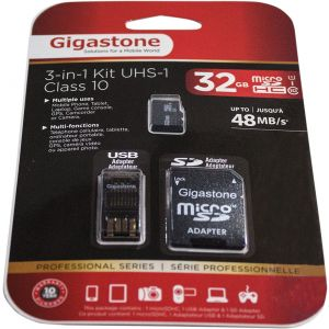 GIGASTONE 32GB 3-IN-1 MICRO SD CARD